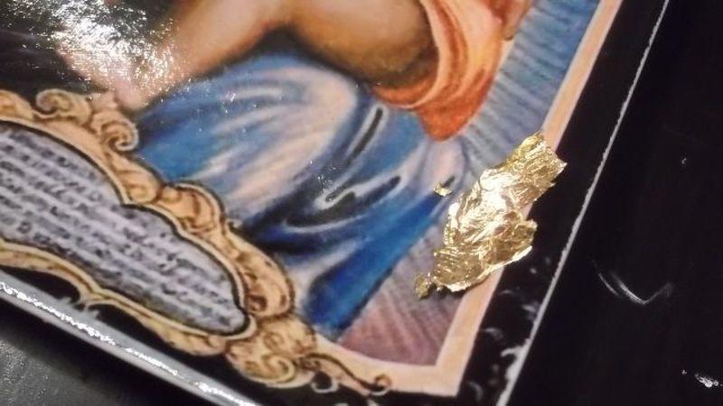 декупаж иконы с поталью,мастер класс,мк,декупаж тарелки,как работать с поталью,идеи к Пасхе,подарки своими руками,Пасха