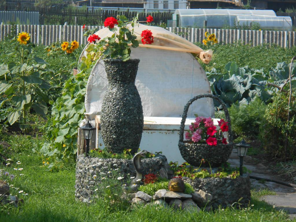 Садовые кашпо из щебенки (мастер-класс)