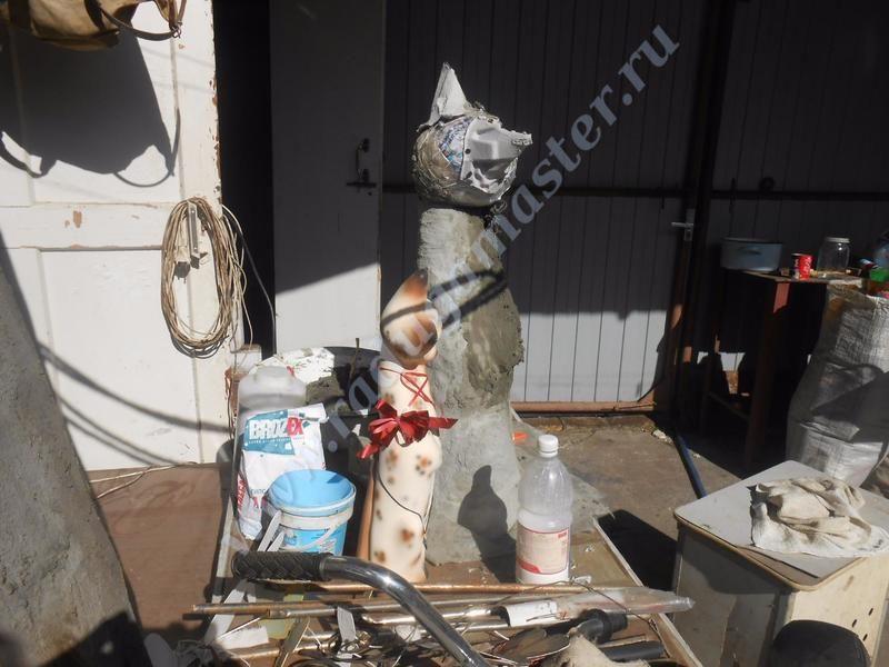 кот из цемента,мастер класс,мк,садовая поделка,своими руками,садовая фигура,кошка,статуэтка кошки,для сада,поделки из пластиковых бутылок
