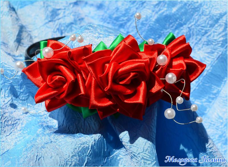 ободок с розами из атласных лент,мастер класс,мк, ободок для <i>руками</i> девочки,роза из атласных лент, цветы из лент, цветы из ткани, украшения для волос, канзаши, цветы своими руками, атласная розочка, украшения своими руками