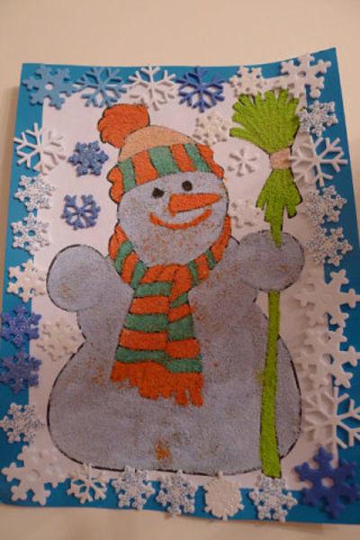 поделки из манки.детские поделки,как красить манку,картины из цветной манки